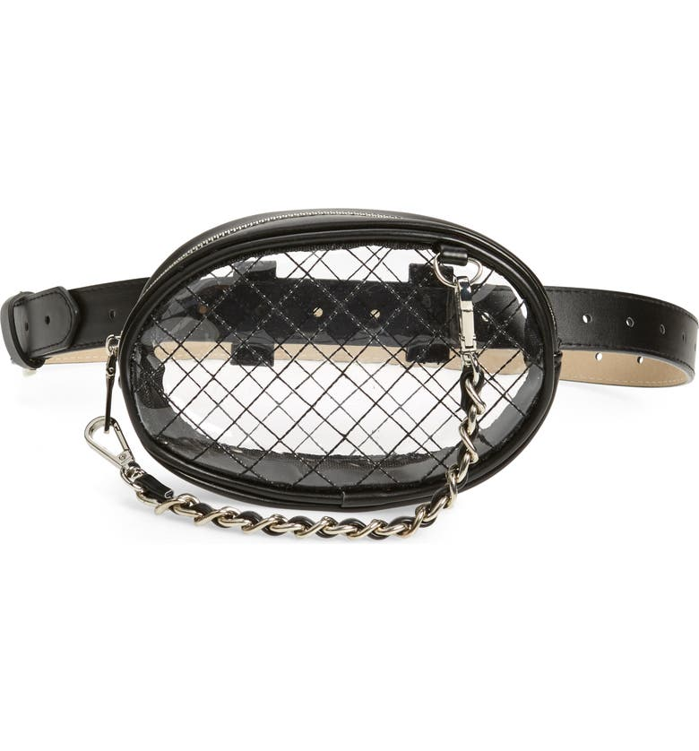 STEVE MADDEN Diamond Quilted Clear Belt Bag, Main, color, BLACK