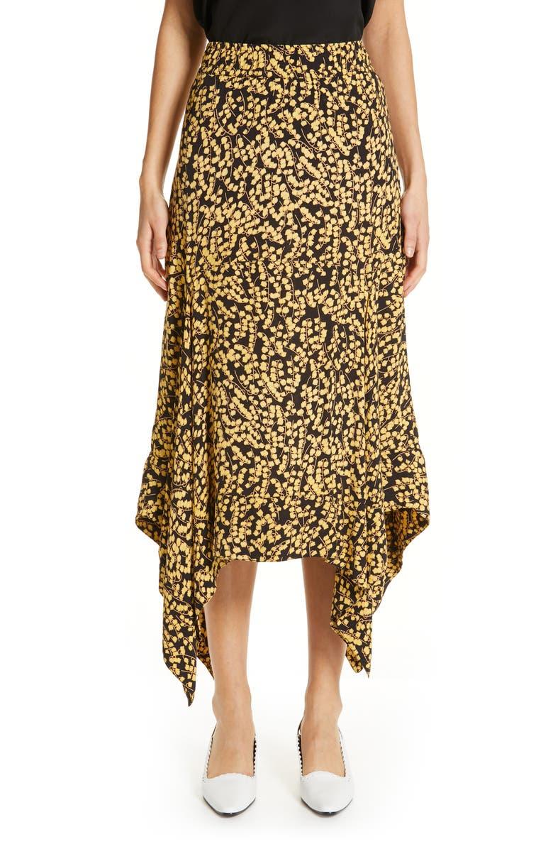 GANNI Floral Print Crepe Midi Skirt, Main, color, 001