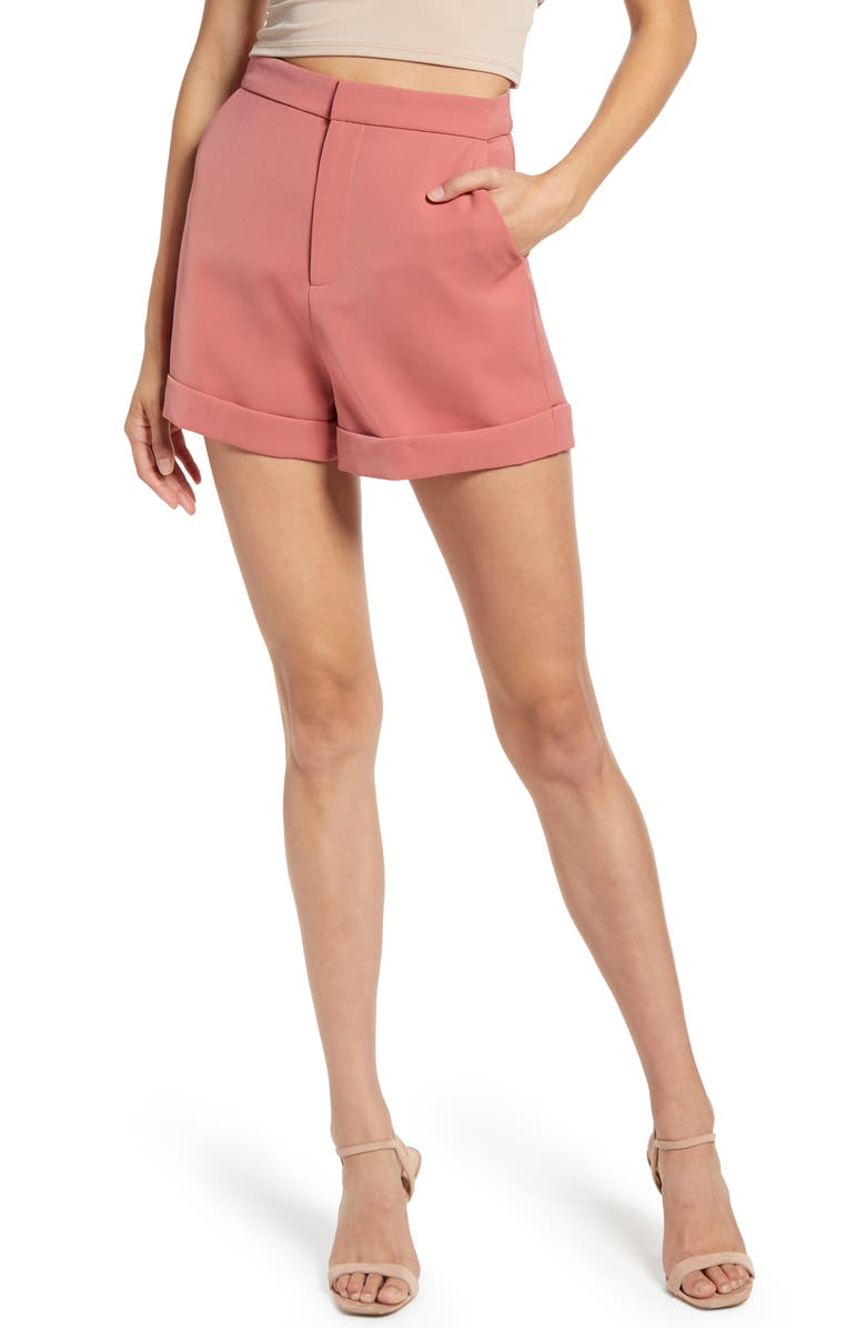 ENDLESS ROSE High Waist Tailored Shorts, Main, color, DUSTY ROSE
