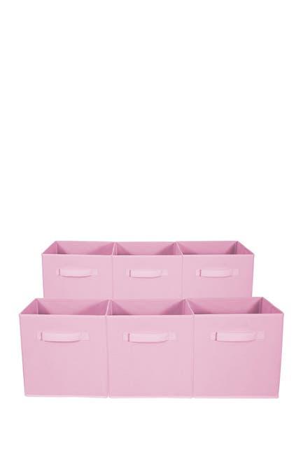 Image of Sorbus Foldable Storage Cube Basket Bin - Set of 6 - Pastel Pink