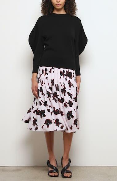 Iris Print Pleated Georgette Skirt, video thumbnail