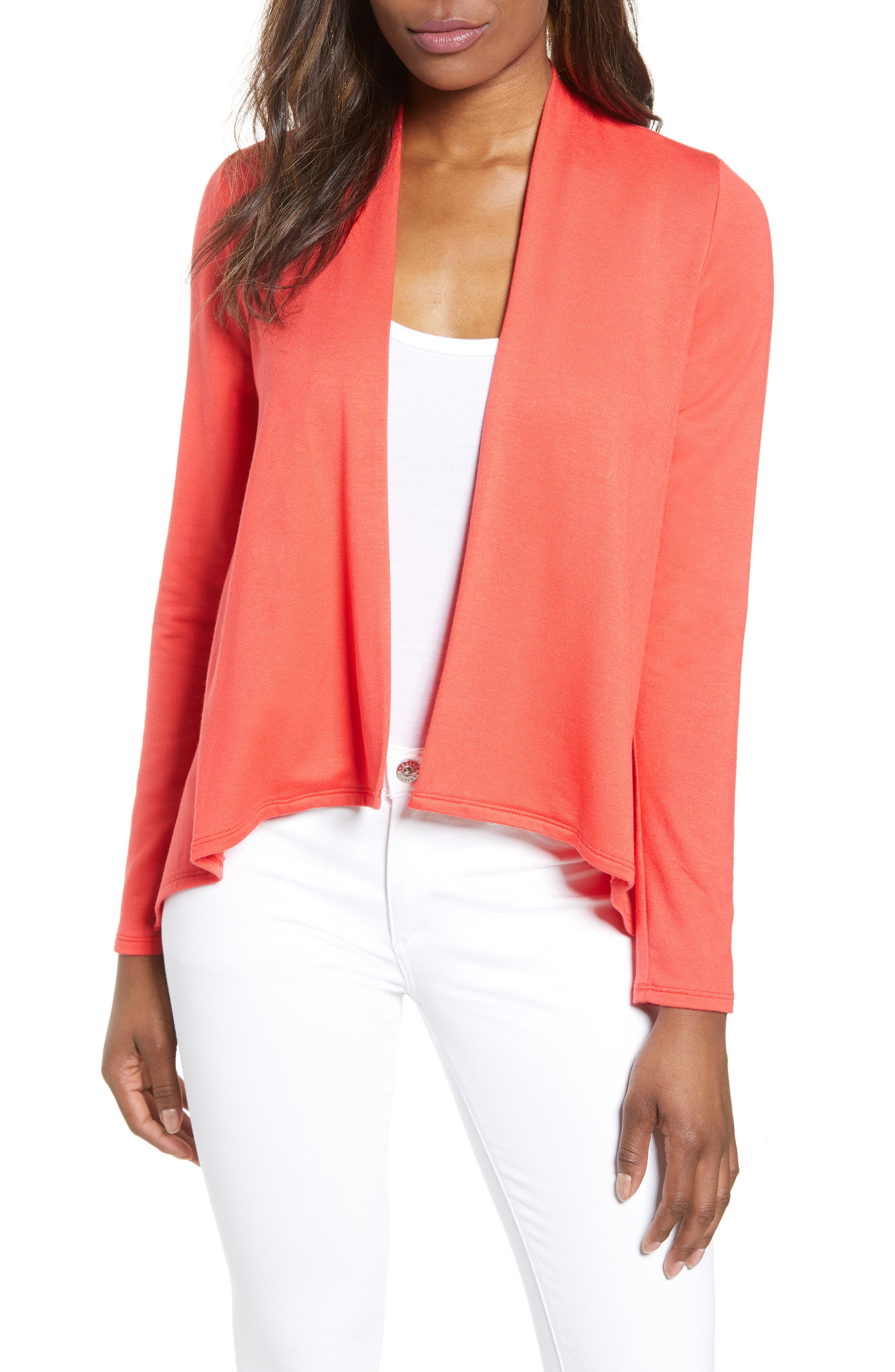 Petite Gibson High/low Cardigan, Red