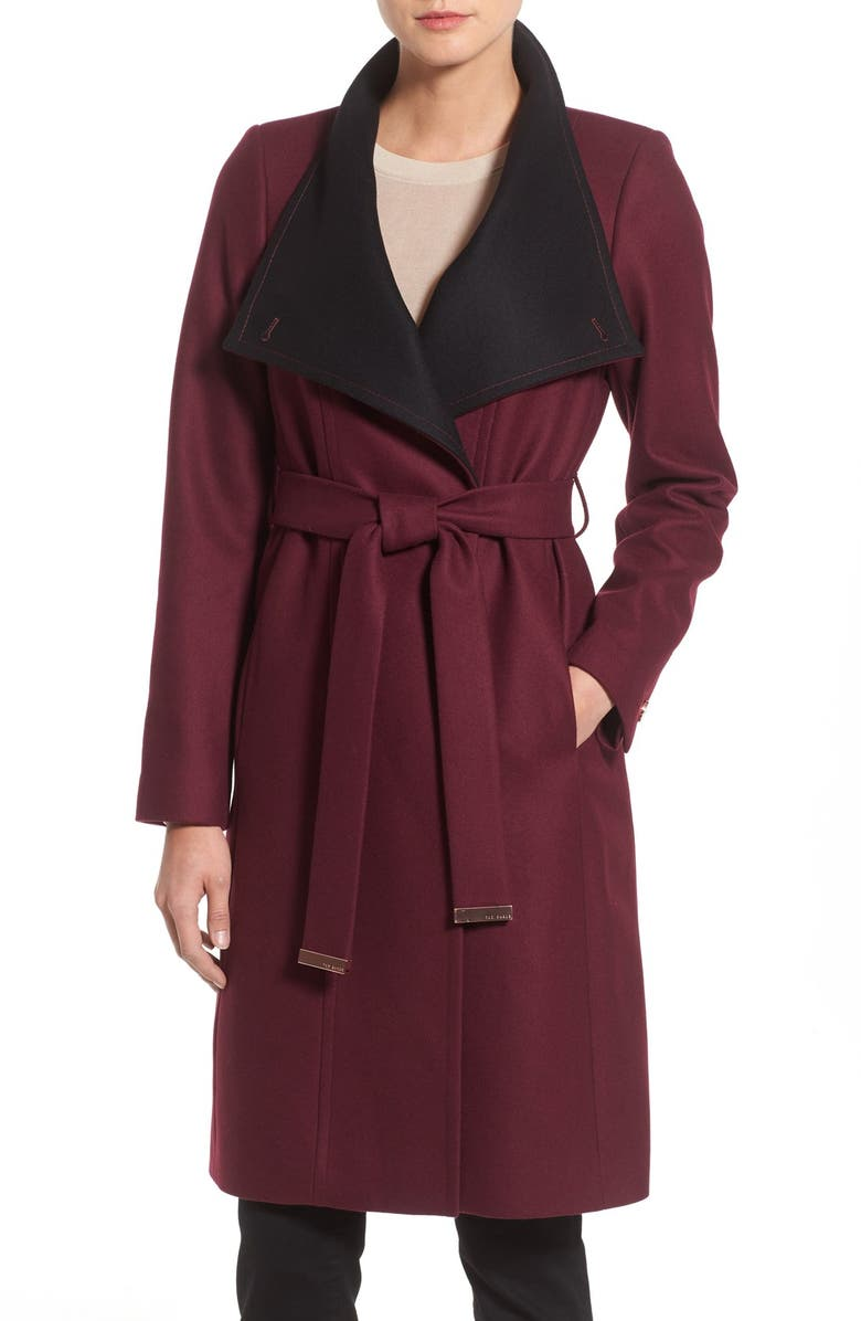 TED BAKER LONDON Wool Blend Wrap Coat, Main, color, 603