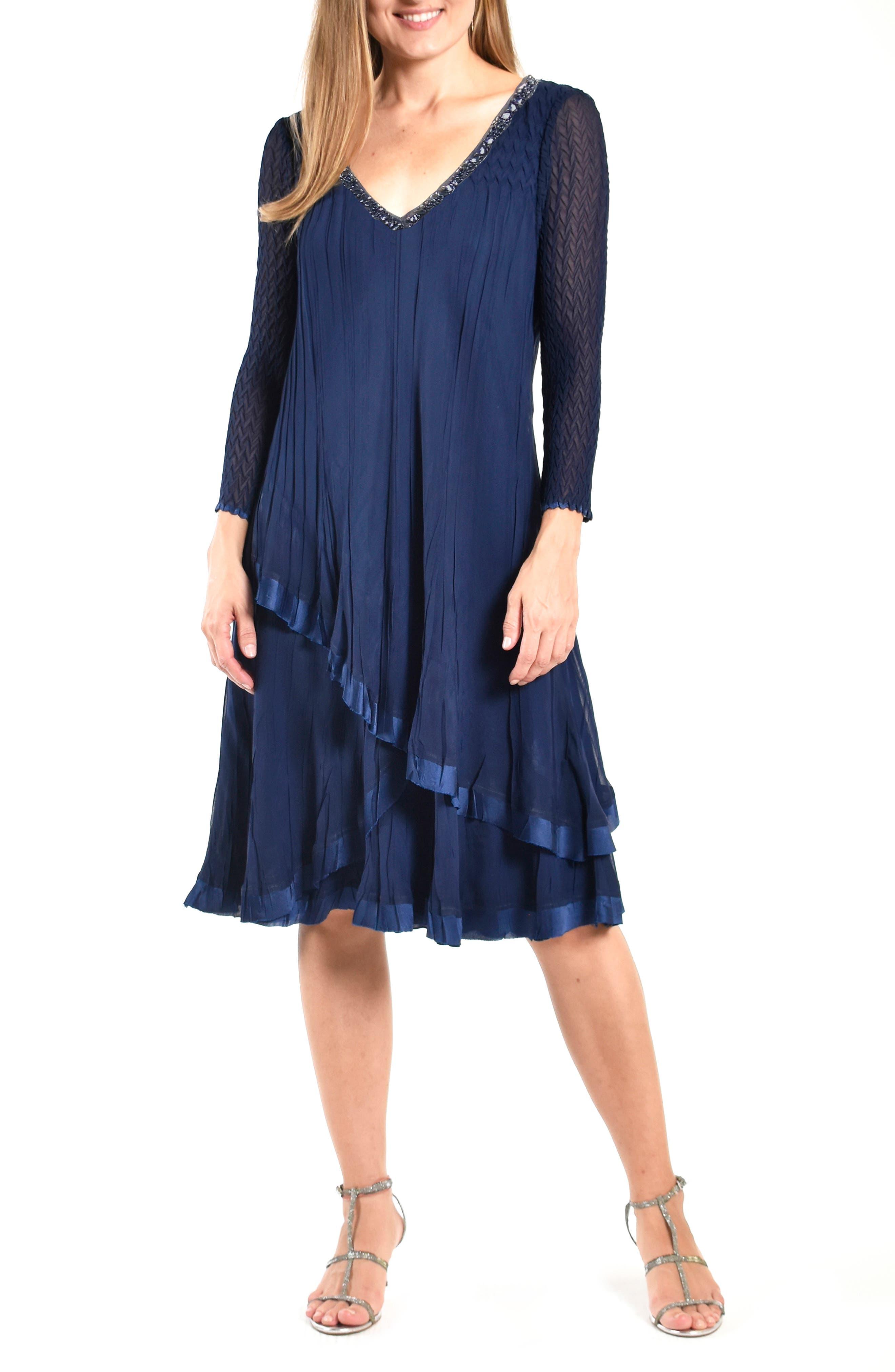 Beaded Long Sleeve Cocktail Dress