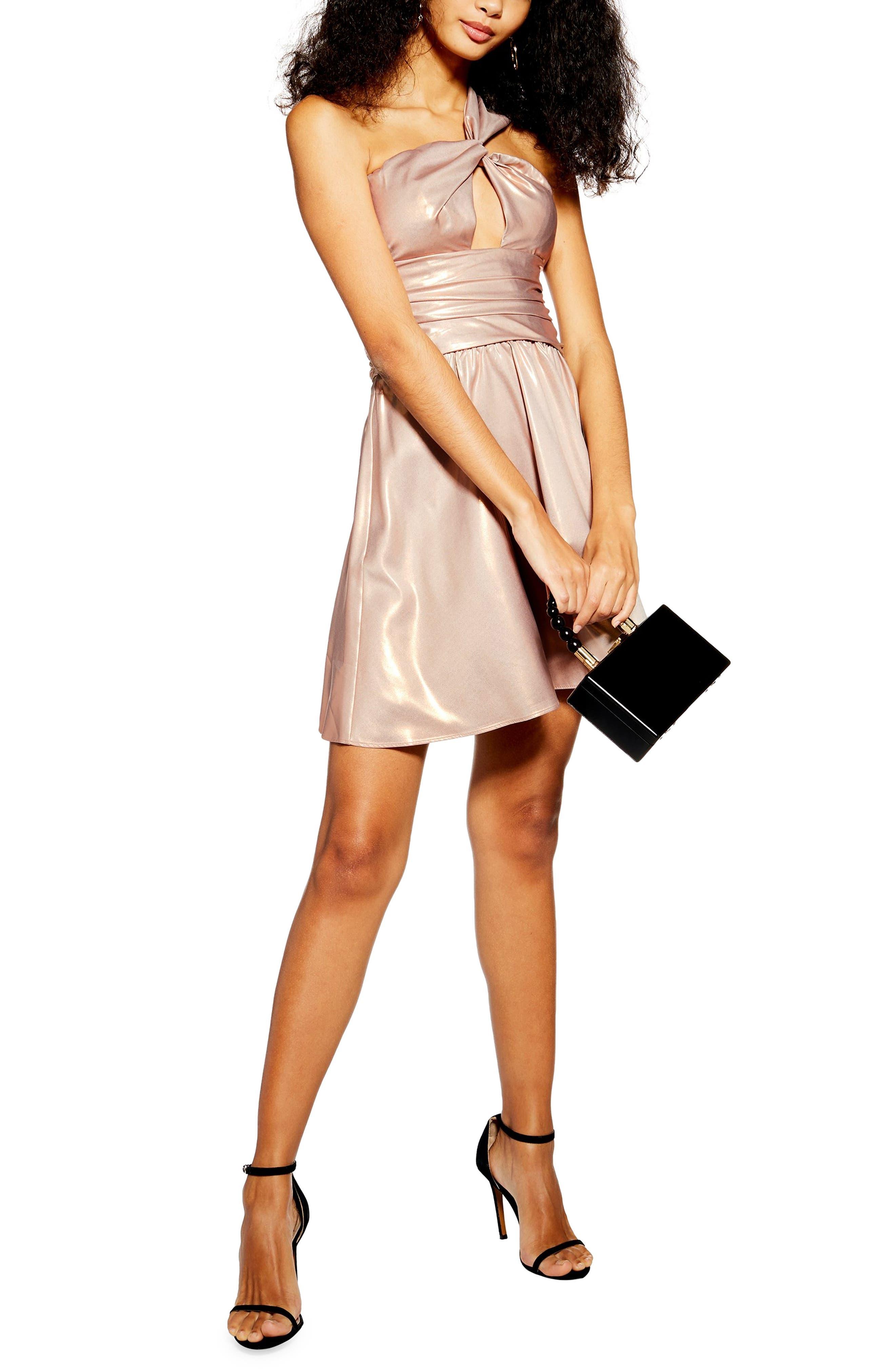 Topshop Foil Twist Shoulder Minidress, US (fits like 16-18) - Metallic