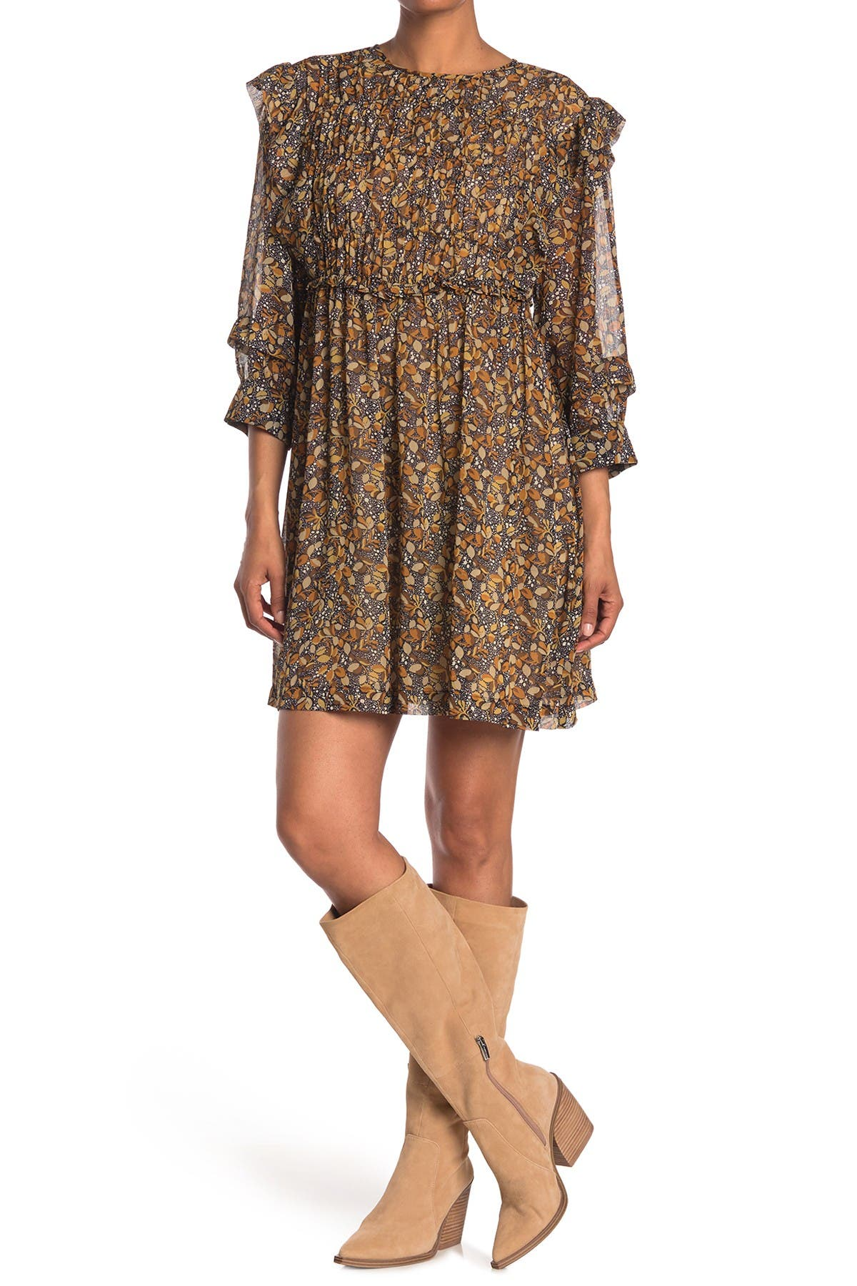Image of ba&sh Sand Ruffle Trim Dress