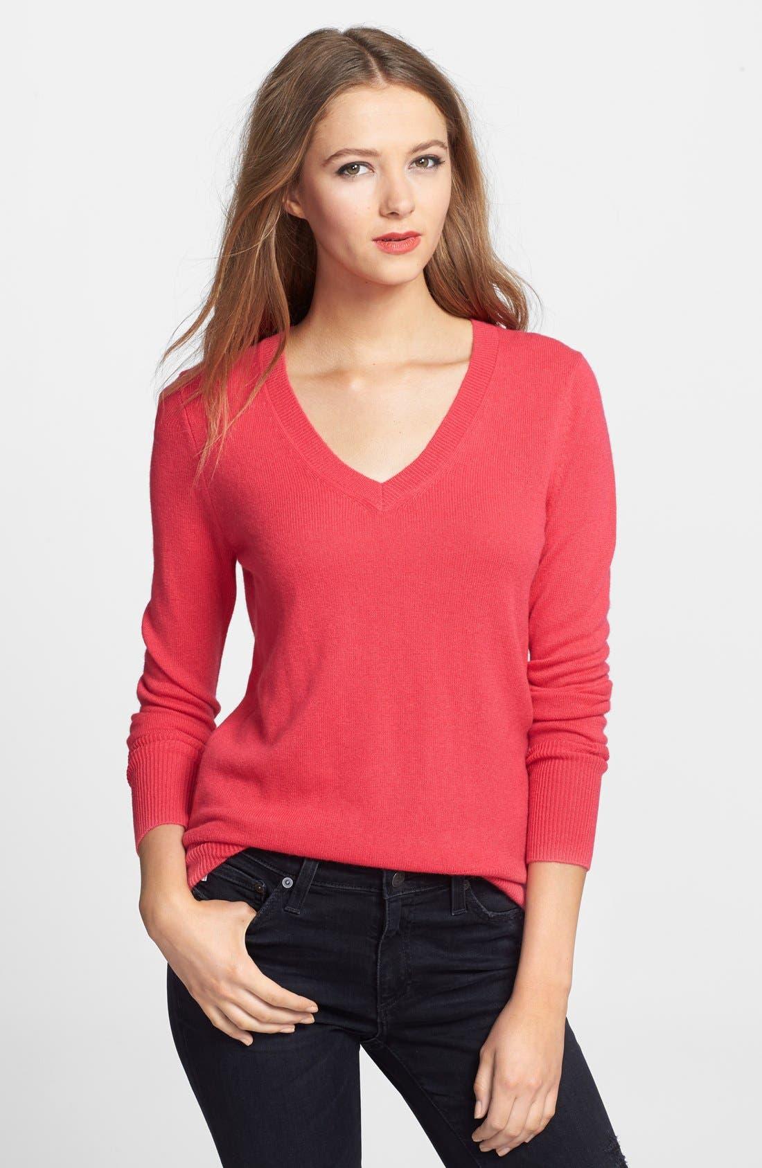 ,                             Cashmere V-Neck Sweater,                             Main thumbnail 85, color,                             653