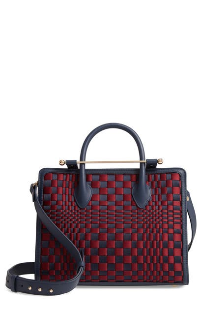 Strathberry Midi Weave Satin & Leather Tote In Navy/ Burgundy