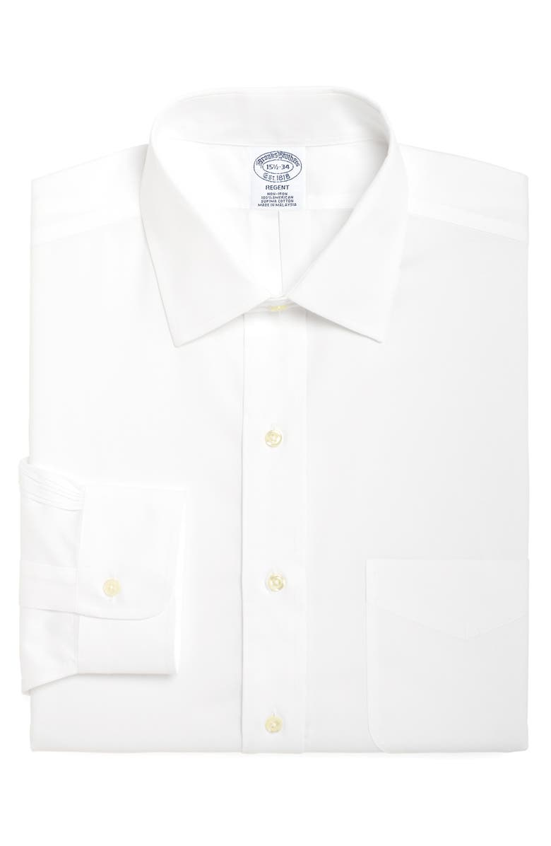 BROOKS BROTHERS Regent Regular Fit Solid Dress Shirt, Main, color, WHITE