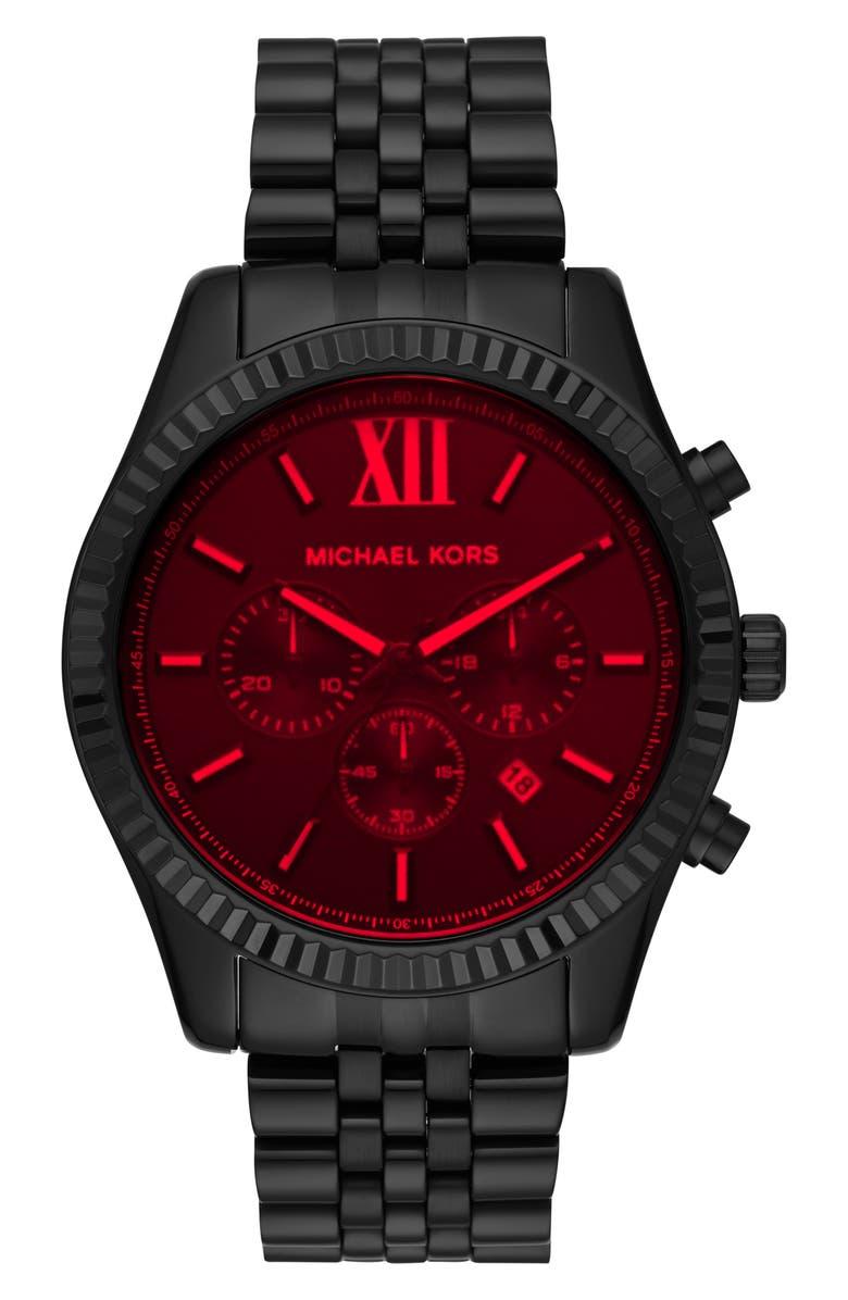 MICHAEL KORS Lexington Bracelet Chronograph Watch, 45mm x 54mm, Main, color, BLACK/ RED/ BLACK
