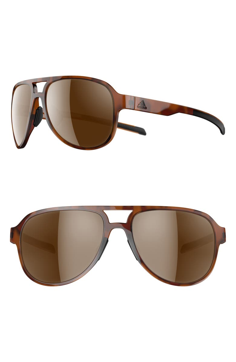 ADIDAS Pacyr 58mm Navigator Sport Sunglasses, Main, color, BROWN HAVANA/ BROWN