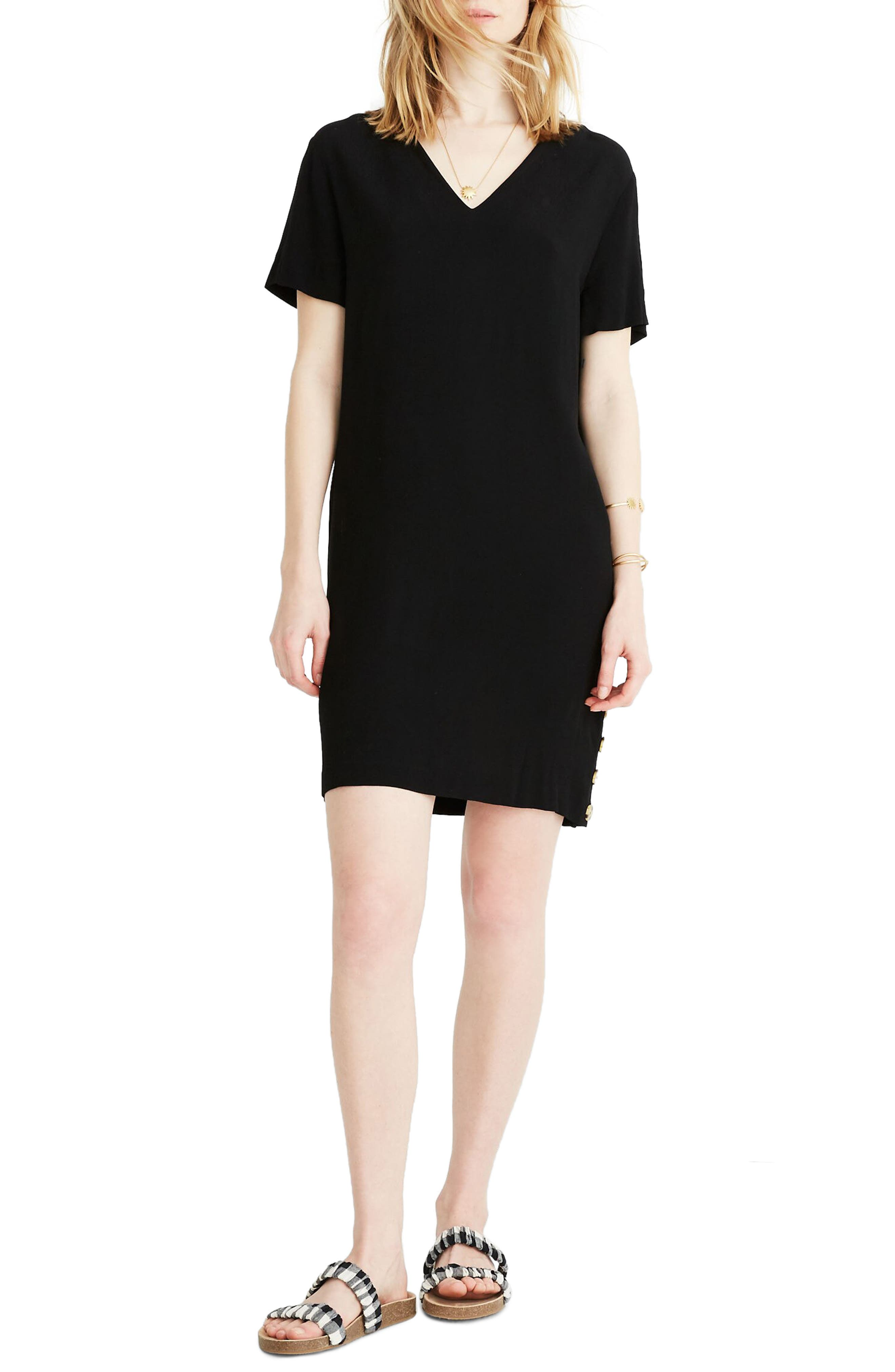 Madewell Side Button Easy Dress, Black