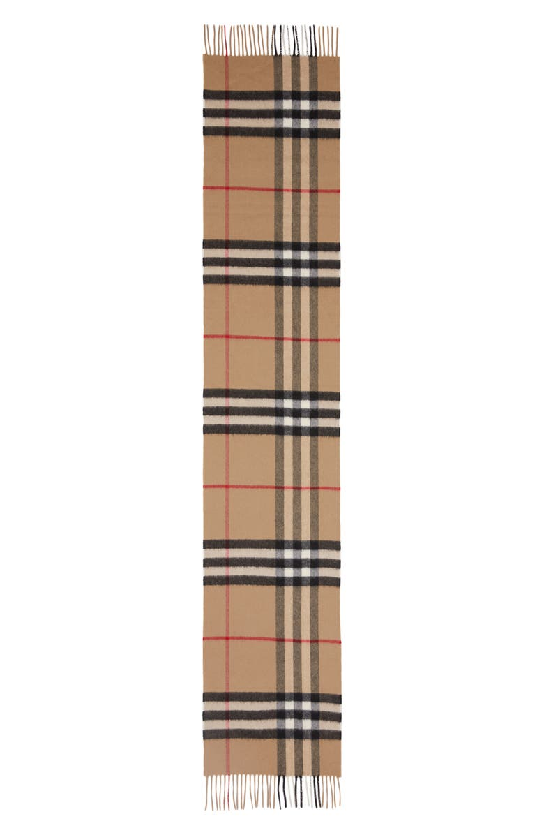 BURBERRY Giant Icon Check Cashmere Scarf, Main, color, ARCHIVE BEIGE