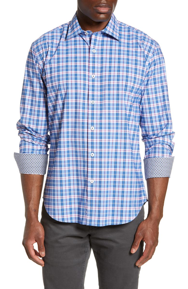 BUGATCHI Shaped Fit Plaid Performance Shirt, Main, color, AIR BLUE