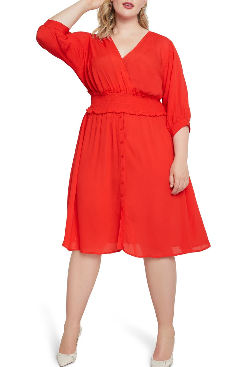 ELOQUII Smock Waist Fit & Flare Dress, Main, color, FLAME SCARLET