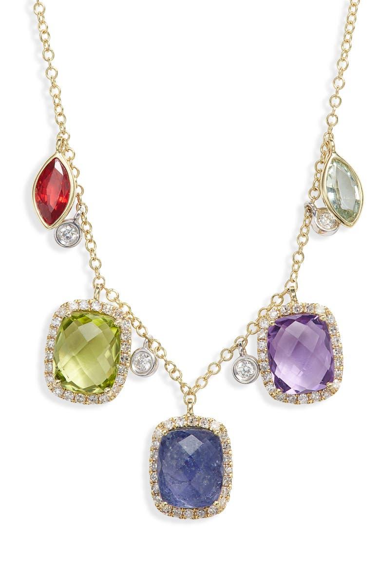 MEIRA T Semiprecious Stone & Diamond Necklace, Main, color, YELLOW GOLD