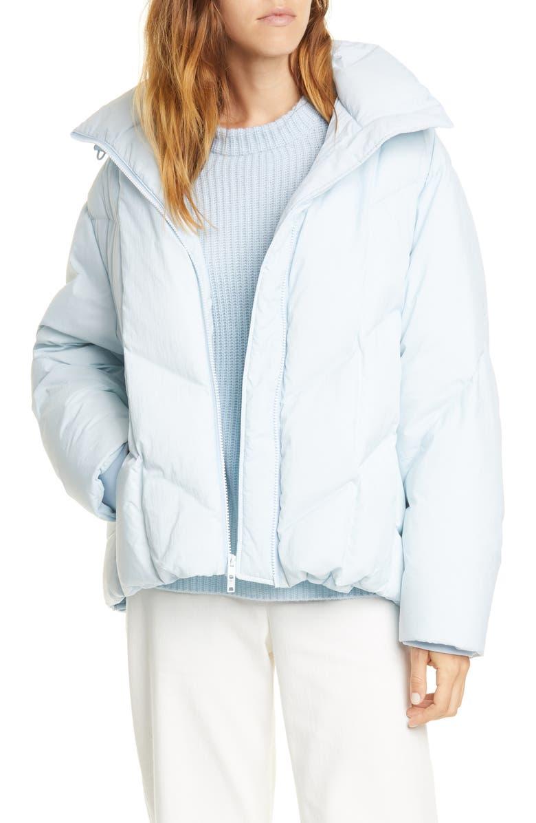 VINCE Hooded Down Puffer Jacket, Main, color, PALE GLACIER