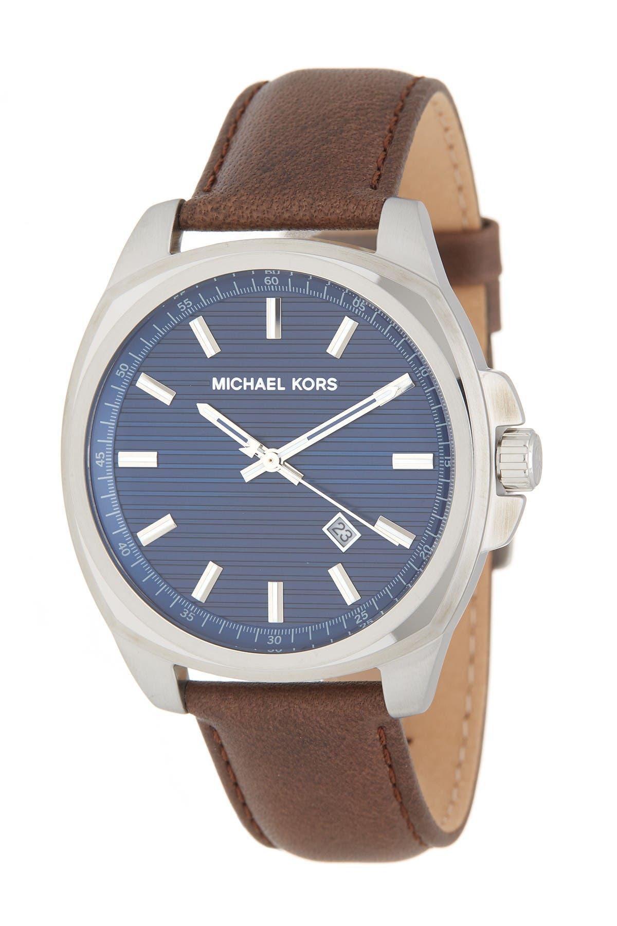 Image of MICHAEL Michael Kors Men's Bryson 3-Hand Leather Strap Watch, 42mm