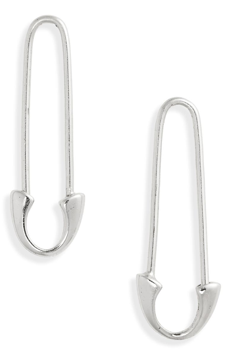 ARGENTO VIVO STERLING SILVER Single Safety Pin Earrings, Main, color, 040