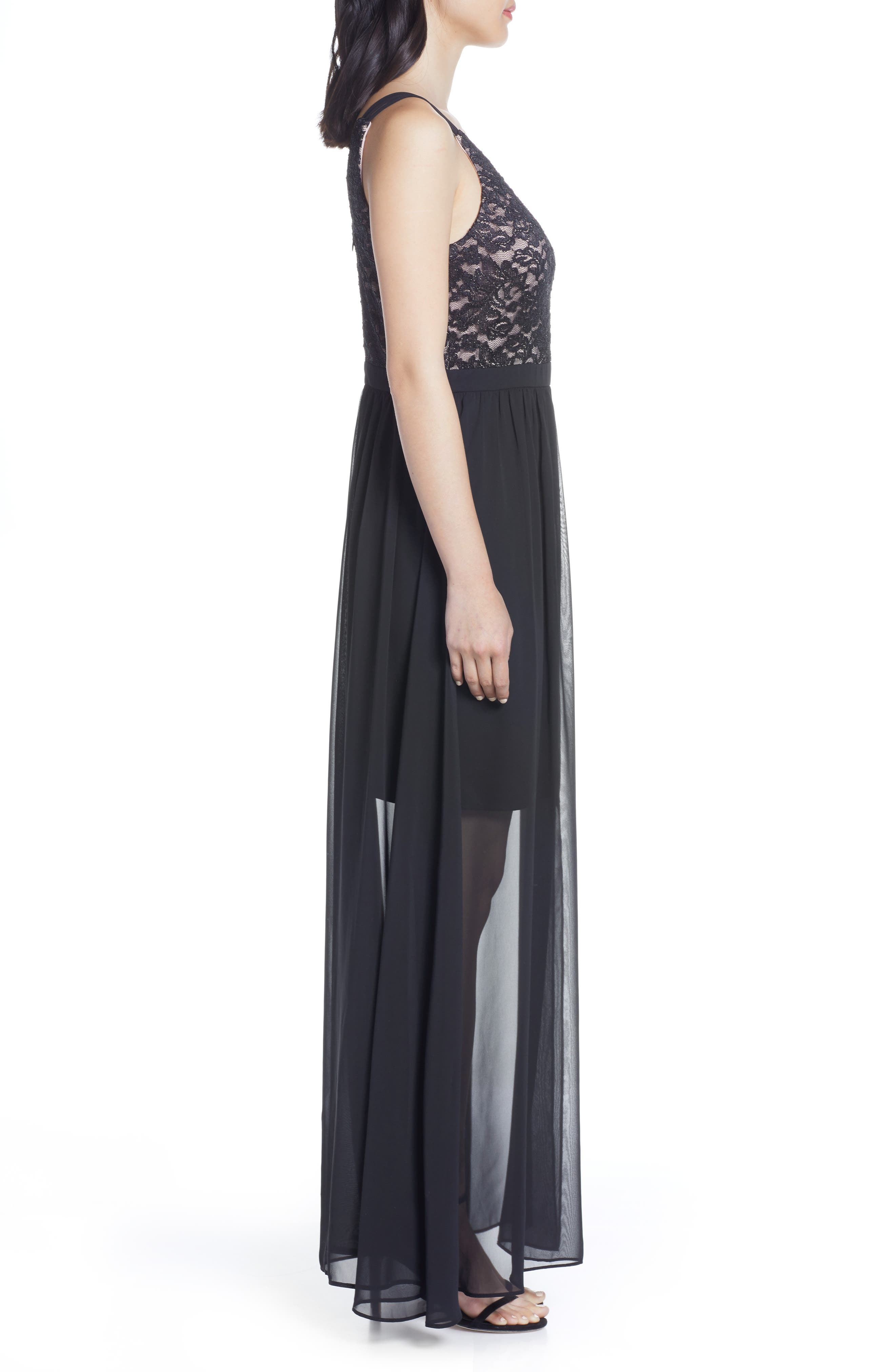 ,                             Strappy Lace Bodice Chiffon Gown,                             Alternate thumbnail 4, color,                             BLACK/ NUDE