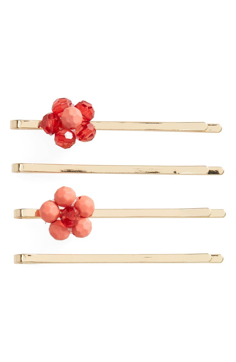 BP. 4-Pack Flower Bobby Pins, Main, color, PINK- RED