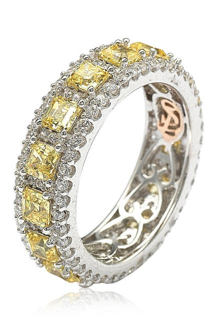 Image of Suzy Levian Sterling Silver Asscher CZ Eternity Band Ring