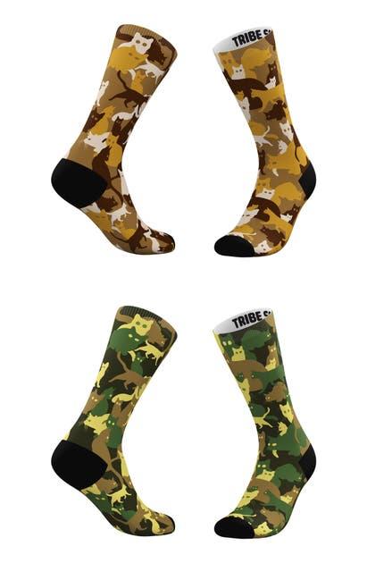 Tribe Socks Socks ASSORTED 2-PACK SANDY & KHAKI CAMO CAT CREW SOCKS