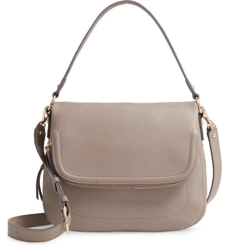 NORDSTROM Bella Leather Crossbody Bag, Main, color, GREY TAUPE