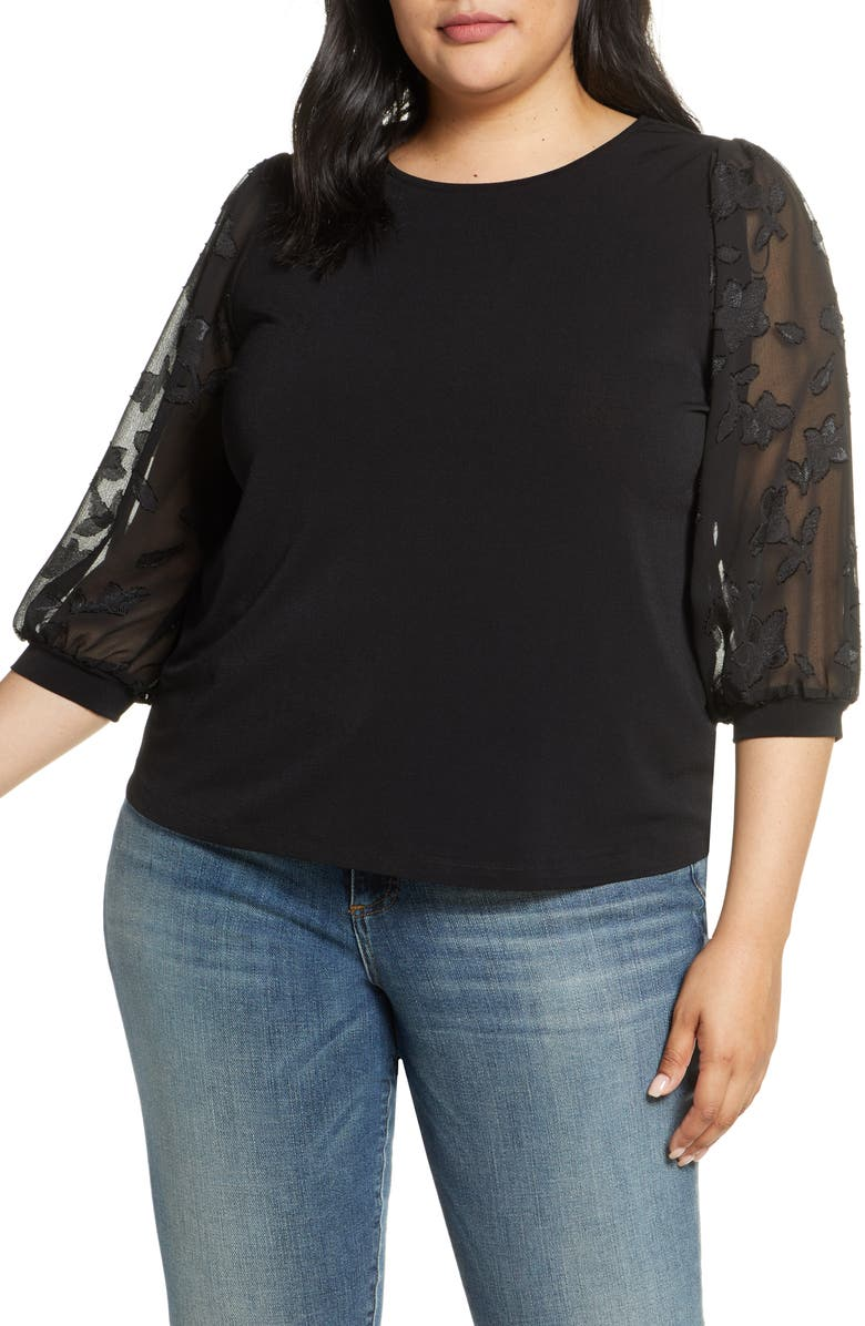 CECE Voluminous Lace Sleeve Top, Main, color, RICH BLACK