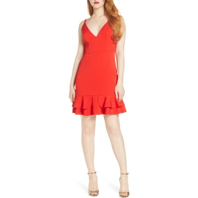 Foxiedox Sleeveless Ruffle Hem Cocktail Dress, Red