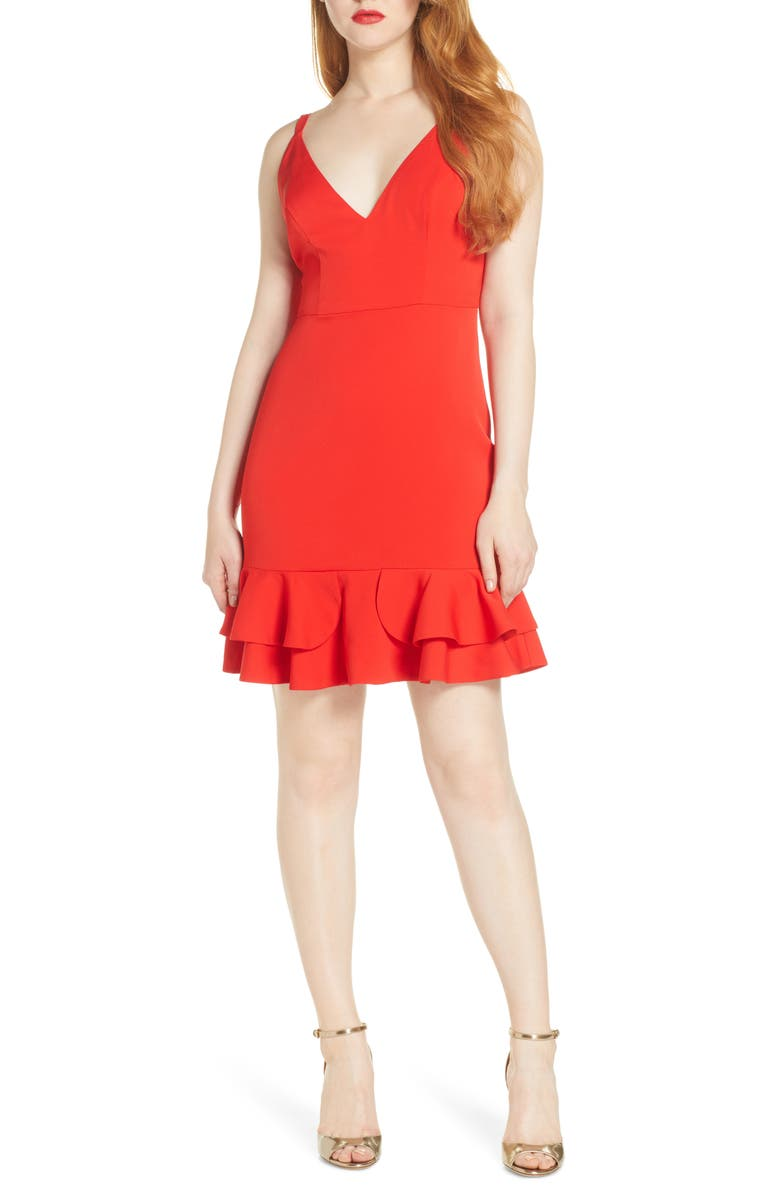 FOXIEDOX Sleeveless Ruffle Hem Cocktail Dress, Main, color, RED
