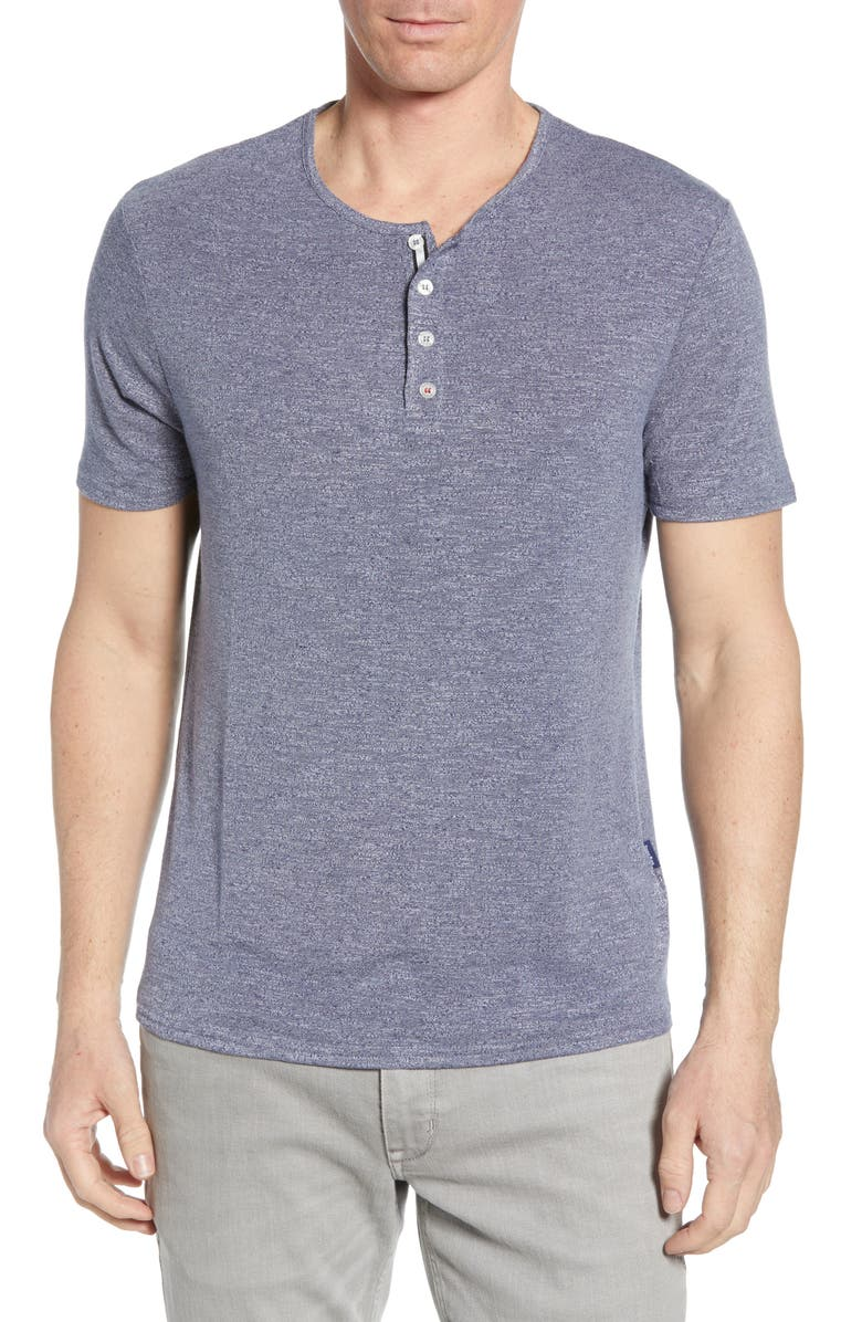 STONE ROSE Stretch Regular Fit Henley, Main, color, NAVY