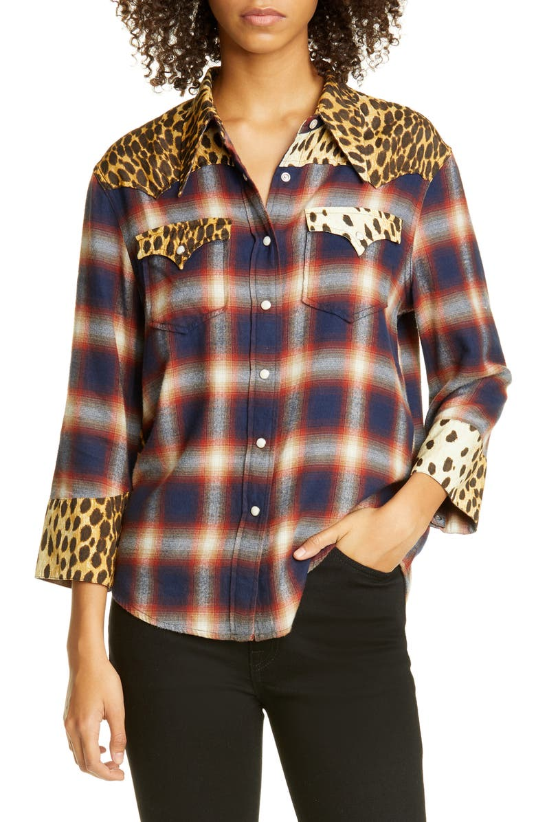 R13 Cheetah Contrast Plaid Shirt, Main, color, RED/NAVY PLAID W/CHE