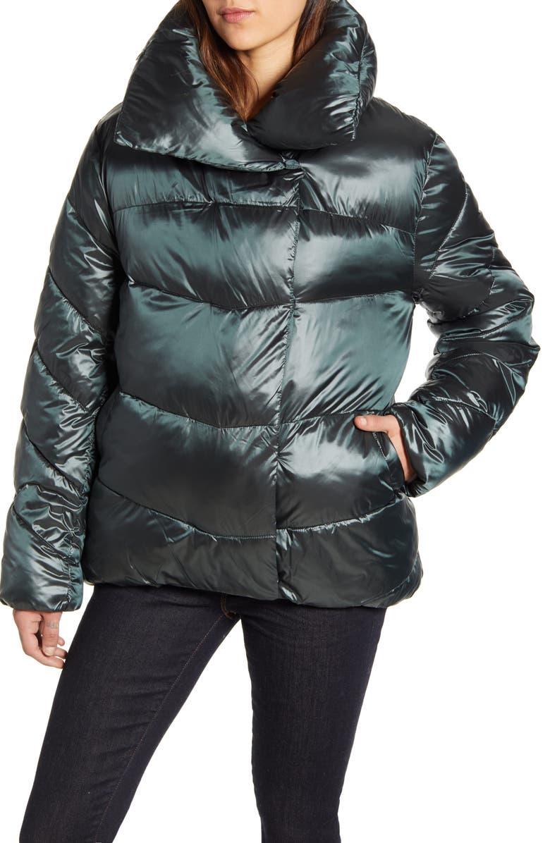 RACHEL PARCELL Puffer Jacket, Main, color, GREEN BOTANICAL