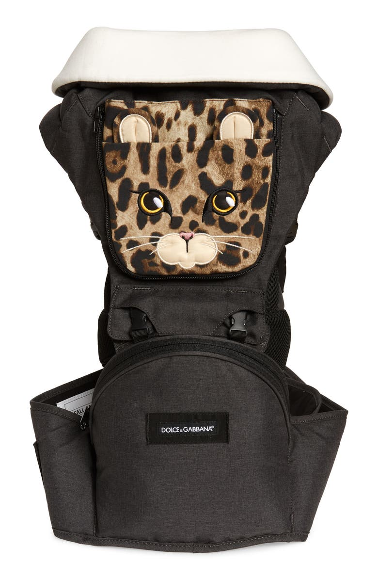 DOLCE&GABBANA x MiaMily Leopard Six Position Baby Carrier, Main, color, BLACK PRINT