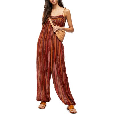 Free People Metallic Stripe Sleeveless Jumpsuit, Red