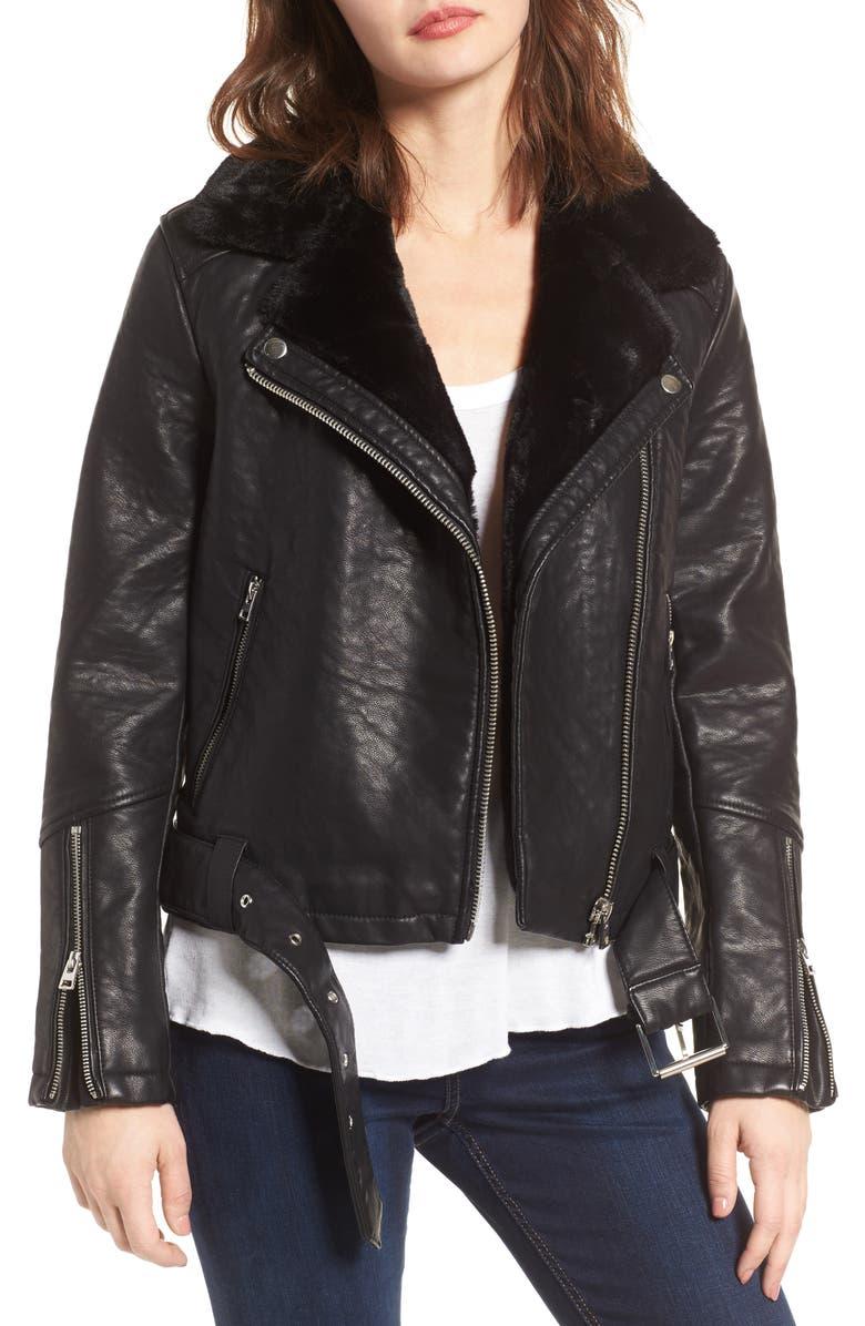 TOPSHOP Vardy Faux Leather Biker Jacket, Main, color, 001