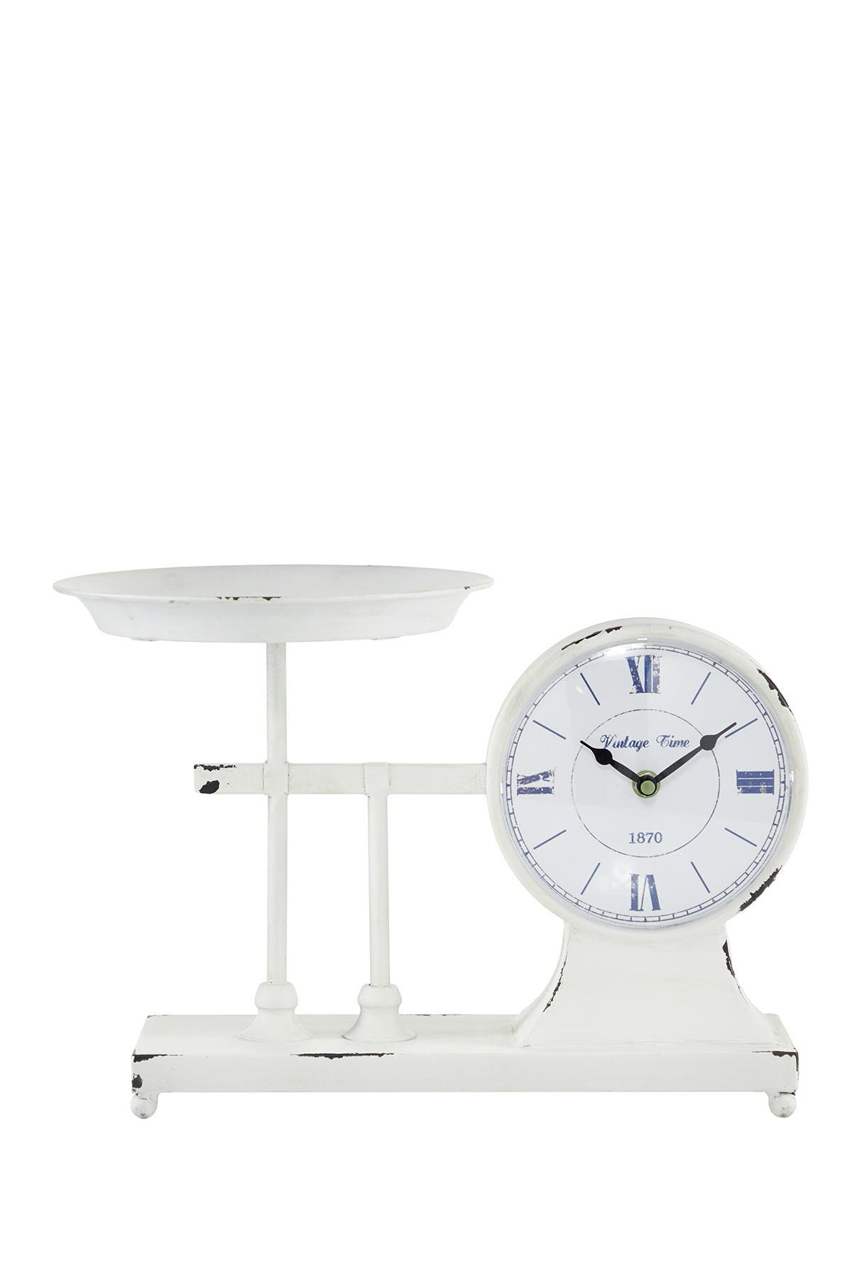Willow Row Distressed Metal Table Clock Scale & Plate at Nordstrom Rack