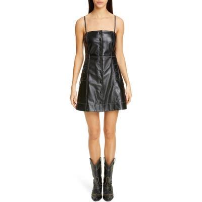 Ganni Lambskin Leather Minidress, Black