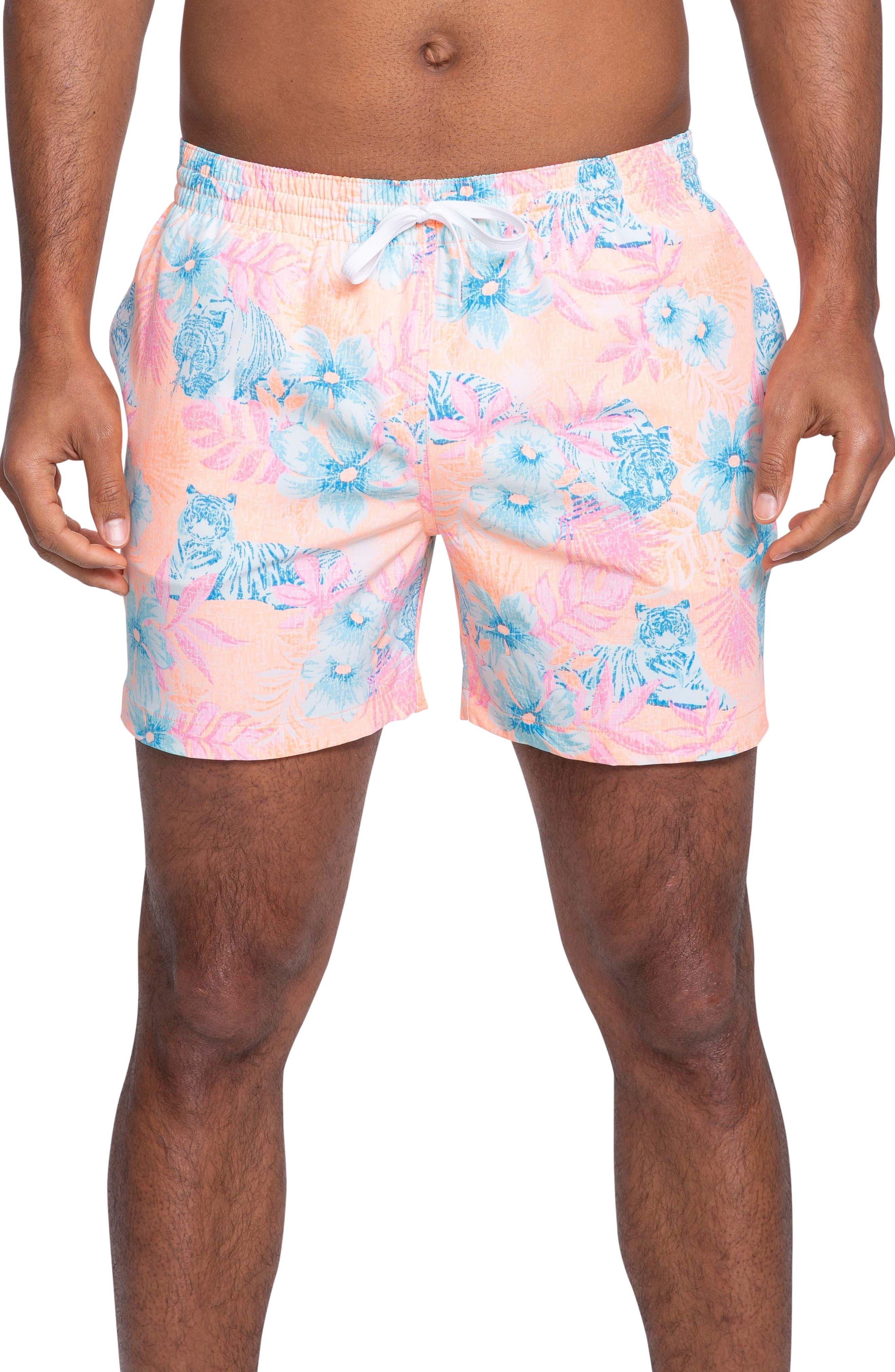 Chubbies Print Swim Trunks, Pink