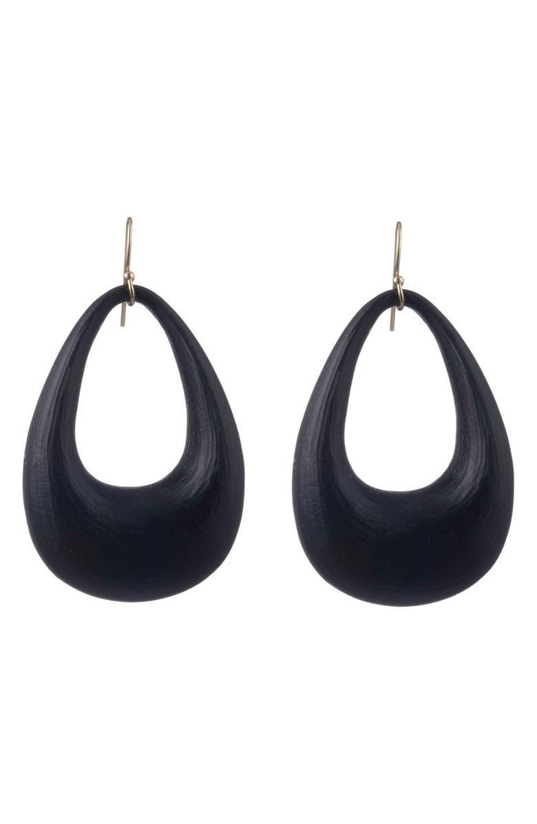ALEXIS BITTAR Small Tapered Hoop Earrings, Main, color, BLACK
