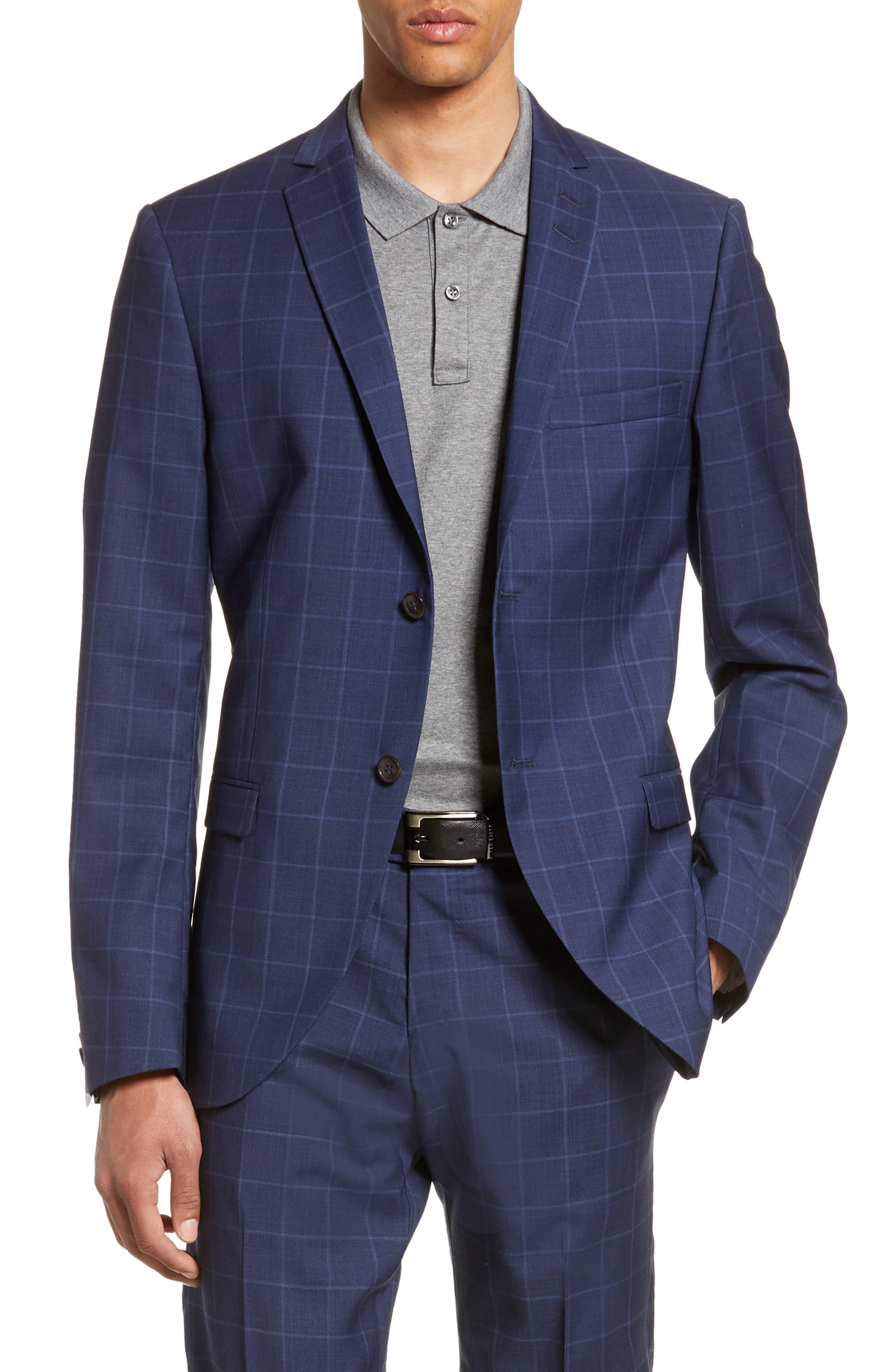 Jile Trim Fit Windowpane Wool Blazer, Main, color, SOFT BLUE