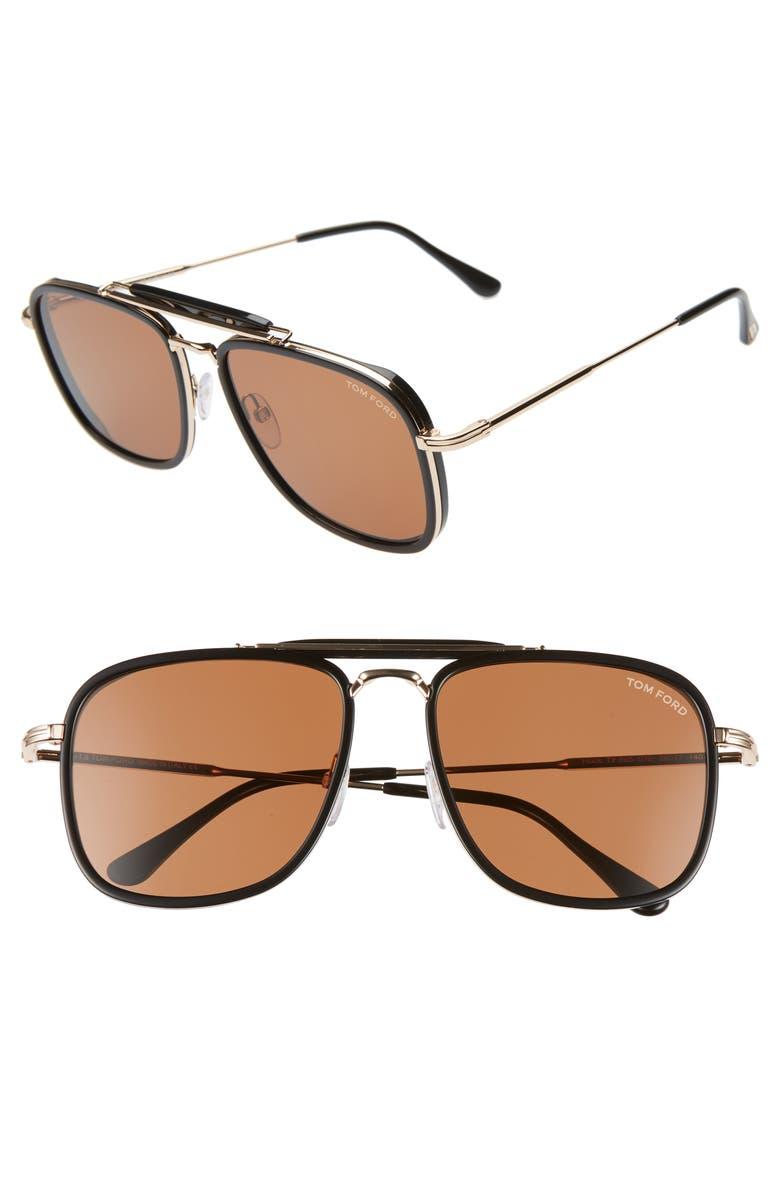 TOM FORD 58mm Navigator Sunglasses, Main, color, BLACK/ BROWN