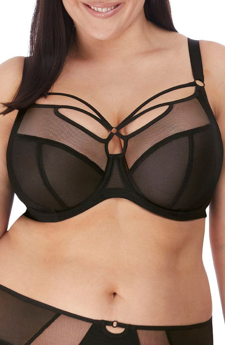 ELOMI Sachi Underwire Plunge Bra, Main, color, BLACK