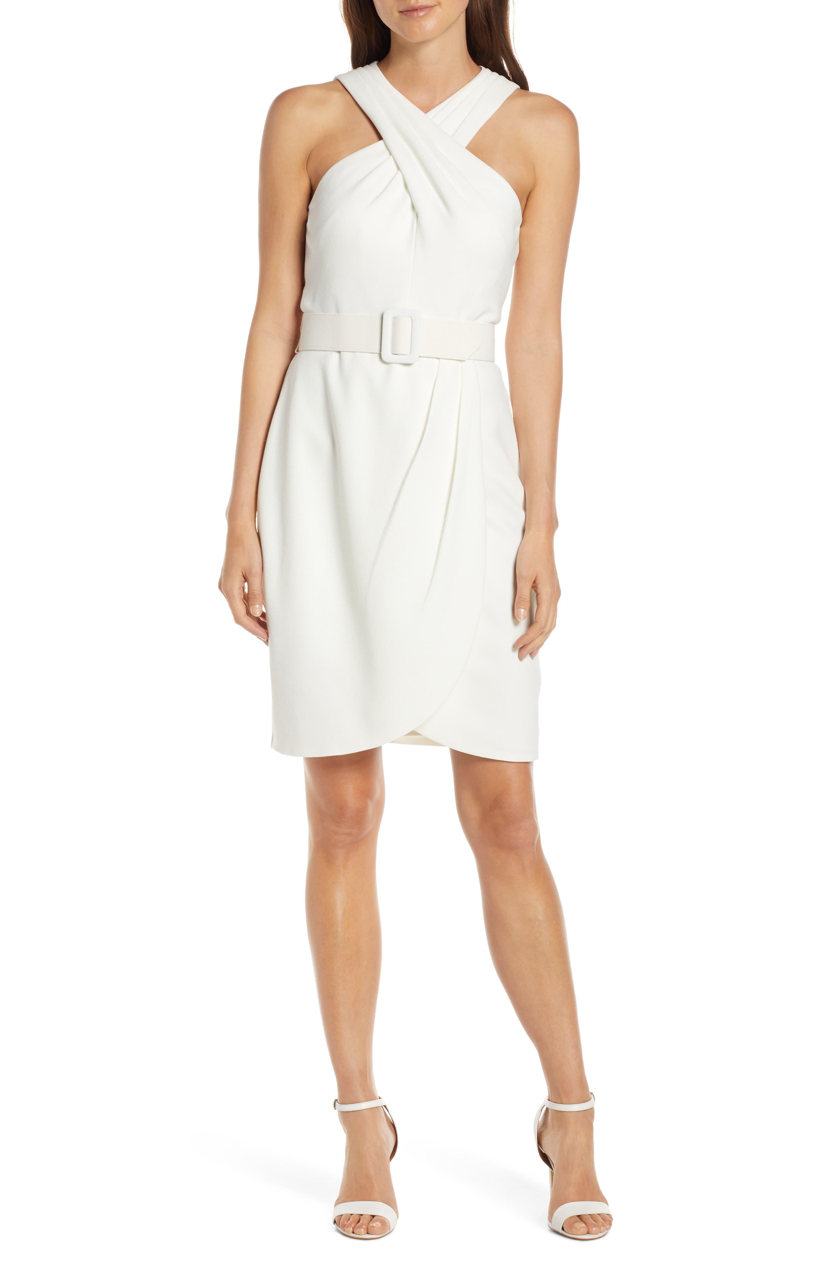 Eliza J Crepe Halter Dress, Ivory