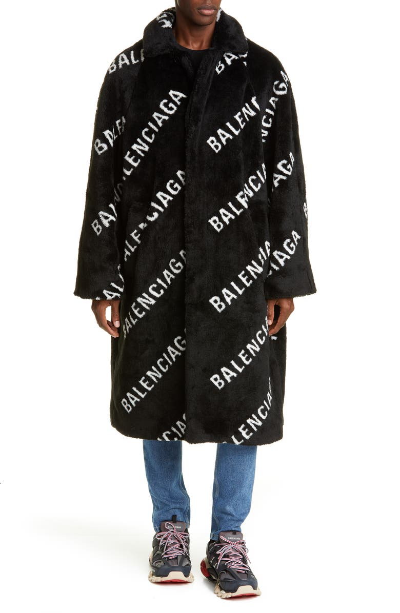 BALENCIAGA Logo Faux Fur Car Coat, Main, color, 001