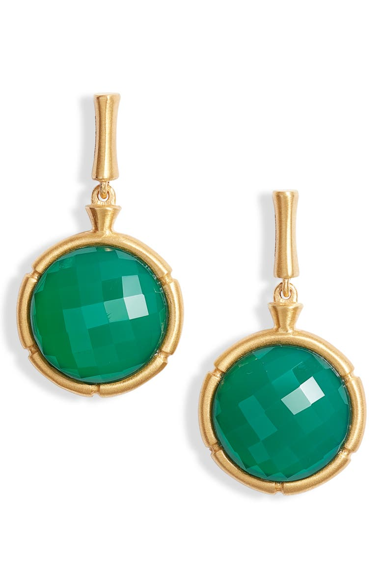 DEAN DAVIDSON Bamboo Style Stone Drop Earrings, Main, color, GREEN ONYX/ GOLD