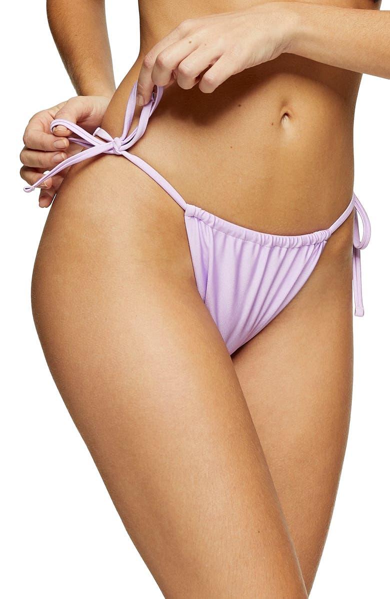 TOPSHOP Shiny High Tie Bikini Bottoms, Main, color, LILAC