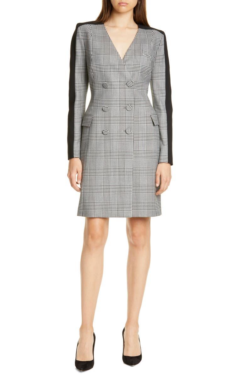 JUDITH & CHARLES Lana Long Sleeve Plaid Blazer Dress, Main, color, BLACK/ OFF WHITE