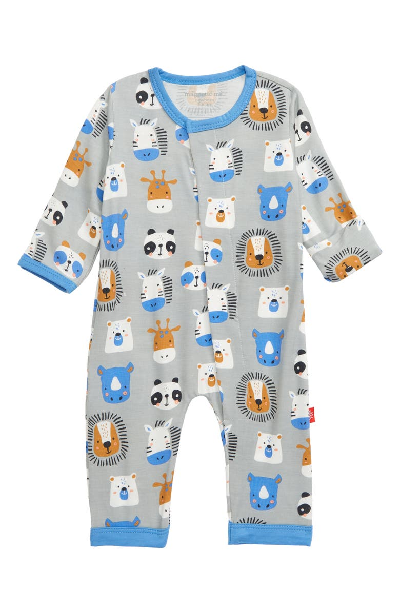 MAGNETIC ME Animal House Romper, Main, color, BLUE